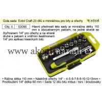 EXTOL Gola sada Extol Craft 23 dílů s miniráčnou pro bity a ořechy 53090