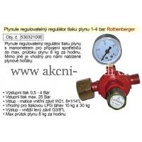 EXTOL Regulátor tlaku plynu 1-4bar regulovatelný s manometrem vhodný pro plynové hořáky 032100E