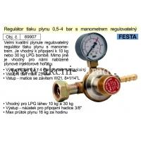 regulátor tlaku plynu 0,5-4bar s manometrem regulovatelný vhodný pro plynové hořáky 69907
