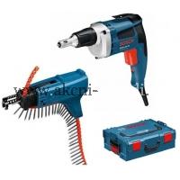 montážní sádrokartonářský šroubovák s podavačem, bosch GSR 6-45 TE a MA 55 Professional 0601445101