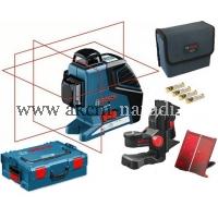 křížový čárový samonivelační laser BOSCH GLL 3-80 P Professional 060106330A, přijímač LR 2, držák BM 1, L-Boxx